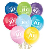 Bunch of 8 latex helium quality coloured balloons featuring Happy 10th Birthday