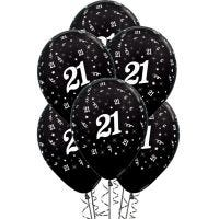 All Over 21st Birthday Black Balloons (Pack of 6)