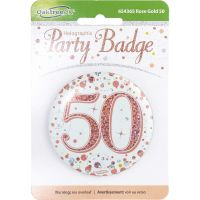 Sparkling Fizz 50th Holographic Rose Gold & White Badge