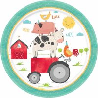 Pastel Farm Large Paper Plates (Pack of 8)