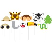 Jungle Animals Photo Booth Prop Set (Pack of 10)