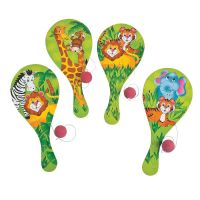 Zoo Animals Wooden Paddleball Toys (Pack of 12)