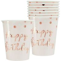 Rose Gold Confetti Birthday Paper Cups (Pack of 8)