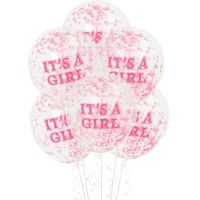 It's A Girl Baby Shower Pre-Filled Confetti Balloons (Pack of 6)