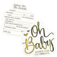 Oh Baby New Parents to Be Advice Cards (Pack of 24)