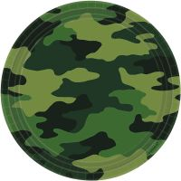 Camouflage Large Paper Plates (Pack of 8)