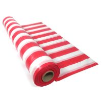 Red and White Striped Plastic Table Roll Tablecloth 30m