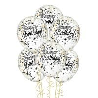 Happy Birthday Black Gold & Silver Pre-filled Confetti Balloons (Pack of 6)