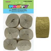 Gold Crepe Streamers (Pack of 6)