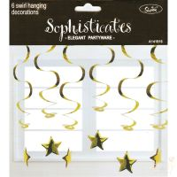 Gold Star Whirls (Pack of 6)