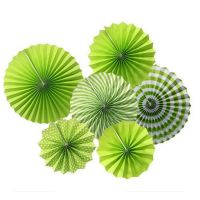 Lime Green Paper Fan Decorations (Pack of 12)