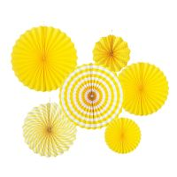 Yellow Paper Fan Decorations (Pack of 12)