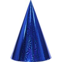 Blue Holographic Foil Party Hats (Pack of 8)