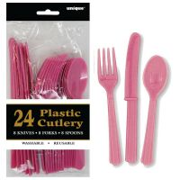 Hot Pink Plastic Cutlery (Pack of 24)