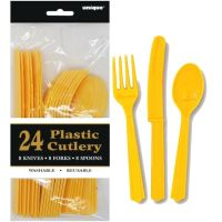 Yellow Plastic Cutlery (Pack of 24)