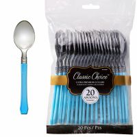 Light Blue Plastic Cutlery (Pack of 24)