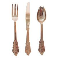 Rose Gold Filigree Plastic Cutlery (Pack of 12)