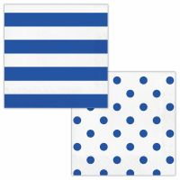 Blue and White Polka Dot and Striped Large Napkins / Serviettes (Pack of 16)