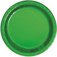 Green Foil Large Round Paper Plates (Pack of 8)