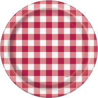 Red Gingham Large Paper Plates (Pack of 8)