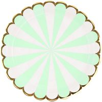 Mint Green and Gold Foil Stripe Large Paper Plates (Pack of 8)