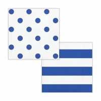 Blue and White Polka Dot and Striped Small Napkins / Serviettes (Pack of 16)