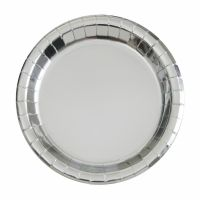 Silver Foil Small Round Paper Plates (Pack of 8)