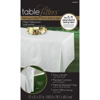 White Flannel-Backed Table Fitter Tablecloth