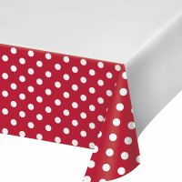 Red and White Polka Dot Plastic Tablecloth