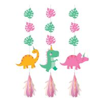 Dino Party Girl Hanging Decorations (Pack of 3)