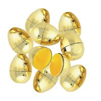 Gold Fillable Plastic Easter Eggs (Pack of 12)