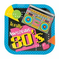 80's Small Paper Plates (Pack of 8)