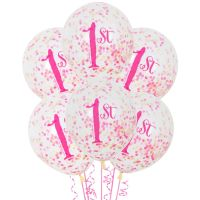 Pink & Gold First Birthday 1st Confetti Balloons (Pack of 6)