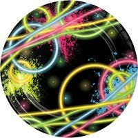 Glow Party Small Paper Plates (Pack of 8)