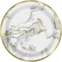 Pack of 10 Gold Marble Large Paper Plates