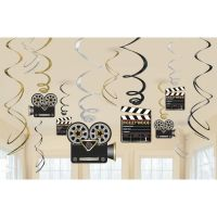 Lights! Camera! Action! Swirl Decorations (Pack of 12)