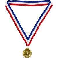 Metal Gold 1 Medal with Ribbon