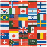 Flags Of The World Large Napkins / Serviettes (Pack of 16)
