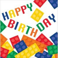 Block Party Happy Birthday Large Napkins / Serviettes (Pack of 16)