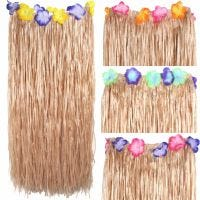 Adult Artificial Grass Hula Skirt with Flowers
