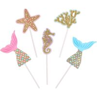 Mermaid Sparkle Cake Toppers (Pack of 5)