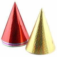 Coloured Laser Foil Party Hats (Pack of 6)