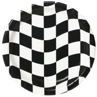 Black and White Checkered Large Paper Plates (Pack of 8)