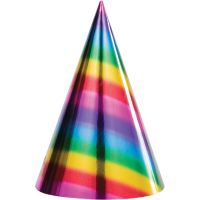 Rainbow Foil Party Hats (Pack of 8)