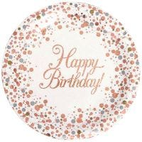Sparkling Fizz Rose Gold Happy Birthday Large Paper Plates (Pack of 8)