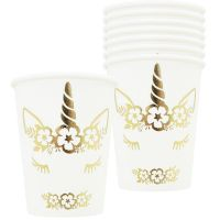 Gold Foil Dreaming Unicorn Paper Cups (Pack of 8)