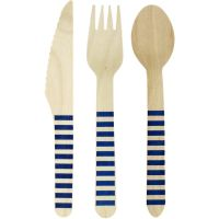 Royal Blue Striped Wooden Cutlery Set (18 Piece)