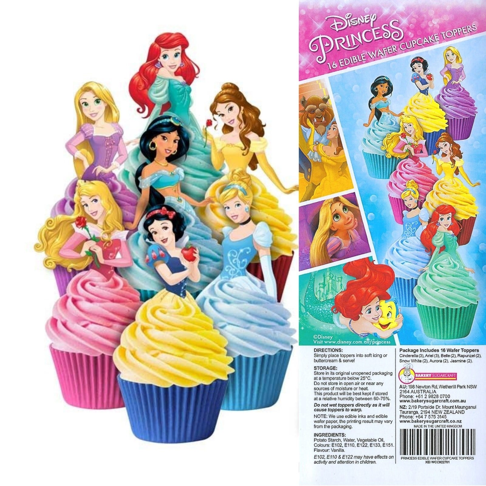 Details About DISNEY PRINCESS PARTY PACK OF 16 EDIBLE CUPCAKE WAFER DECORATIONS TOPPERS