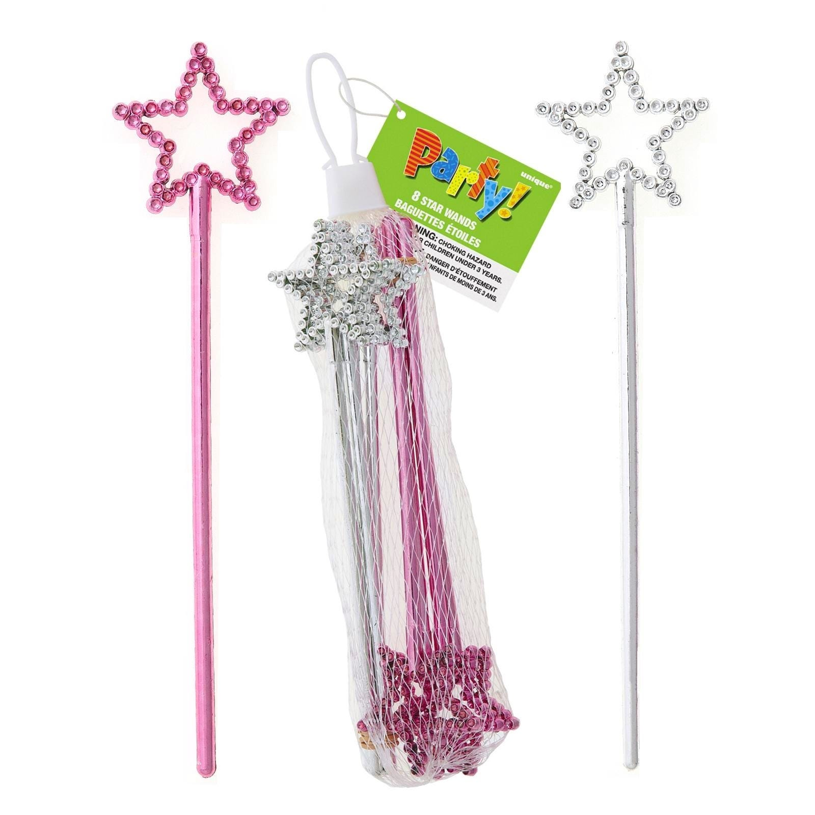 PRINCESS-GIRLS-PARTY-SUPPLIES-FAVOURS-BRIGHT-PINK-SILVER-STAR-WANDS-PACK-OF-8