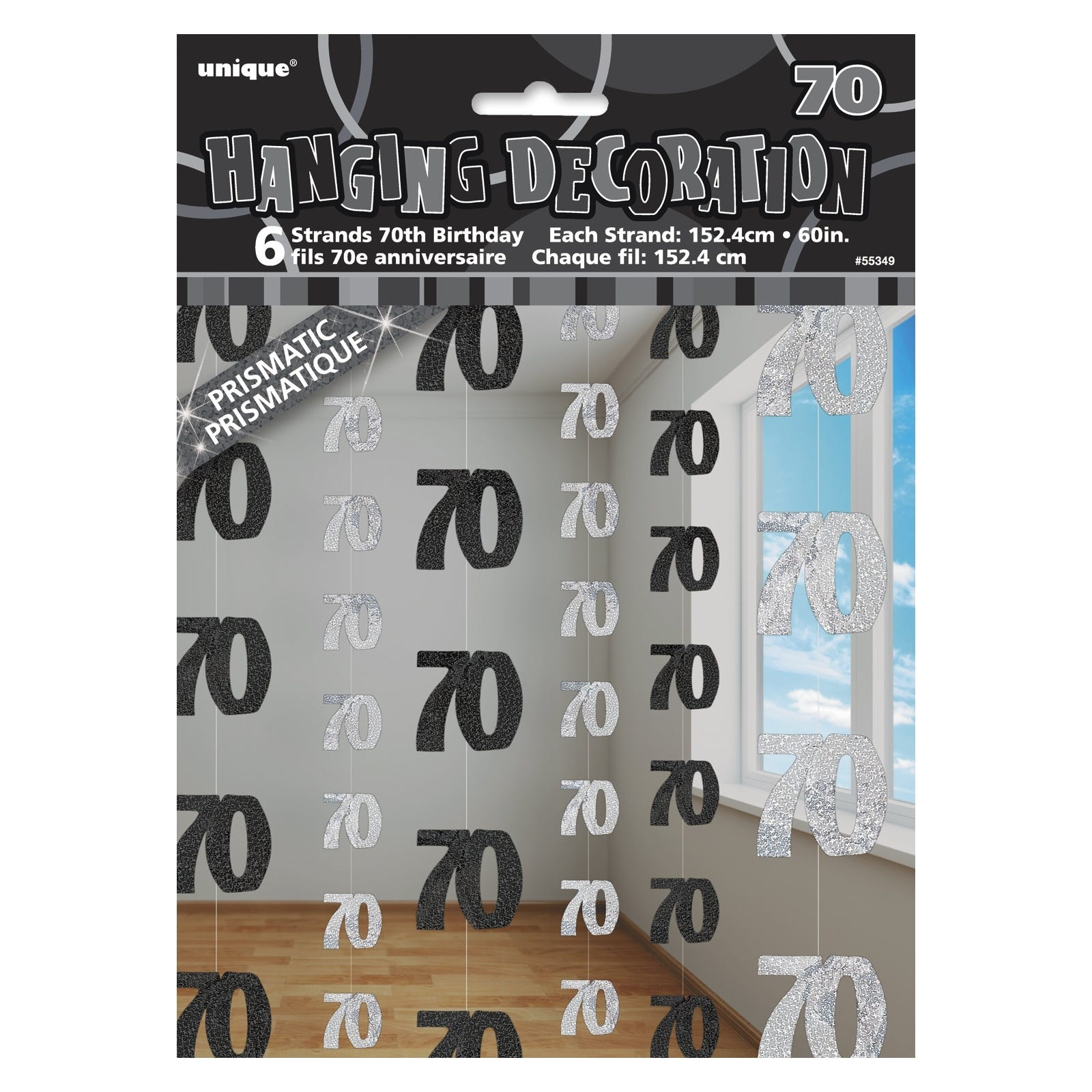Glitz 70th birthday party supplies pack 6 dangling hanging for 70th birthday party decoration